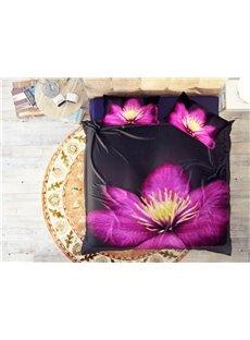 Elegant Purple Flowers Wear-resistant Breathable High Quality 60s Cotton 4-Piece 3D Bedding Sets