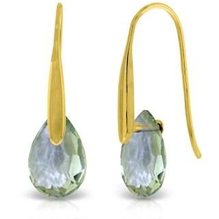 14K Solid Gold Hook Earrings w/ Dangling Briolette Green Amethysts (Yellow)
