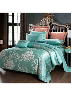 Luxury Lake Blue Satin Jacquard Silky Soft Cotton 4-Piece Bedding Sets/Duvet Cover