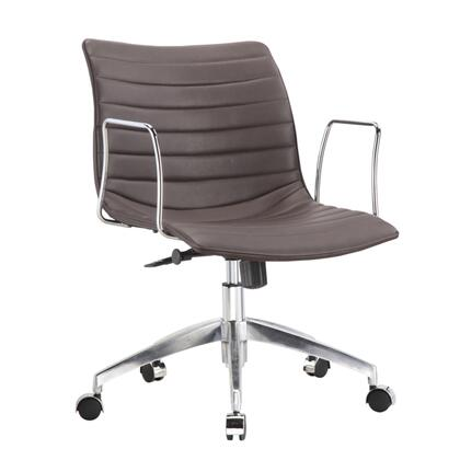 Comfy Collection FMI10224-DARKBROWN Office Chair with Adjustable Seat Height  Mid Back  Casters  Cast Aluminum Base  Contemporary Style  Chrome