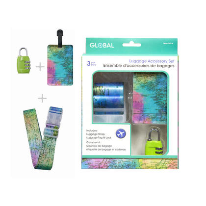 Global Luggage Accessory Set 3 Pcs, Includes Luggage Tag, Strap and Lock - Map