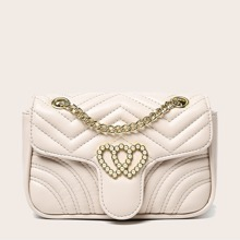 Faux Pearl Decor Chain Crossbody Bag