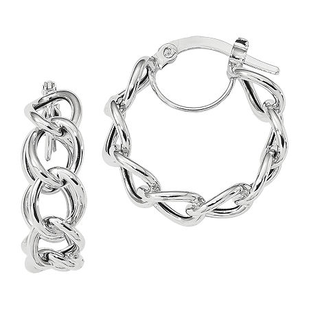 Made in Italy 14K White Gold 21.4mm Hoop Earrings, One Size , No Color Family