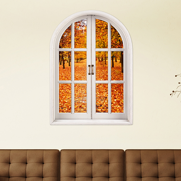 Golden Maple Tree and Leaves Window View Removable 3D Wall Sticker
