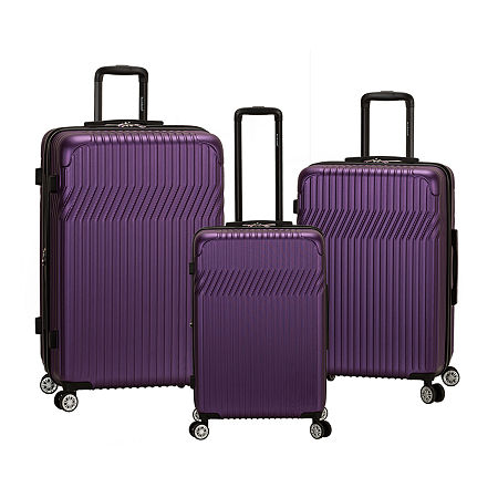 Rockland Pista 3 Pc Abs Non Expandable 3-pc. Hardside Lightweight Luggage Set, One Size , Purple