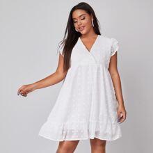 Kleid mit Punkten Muster, V Kragen und Rueschenbesatz