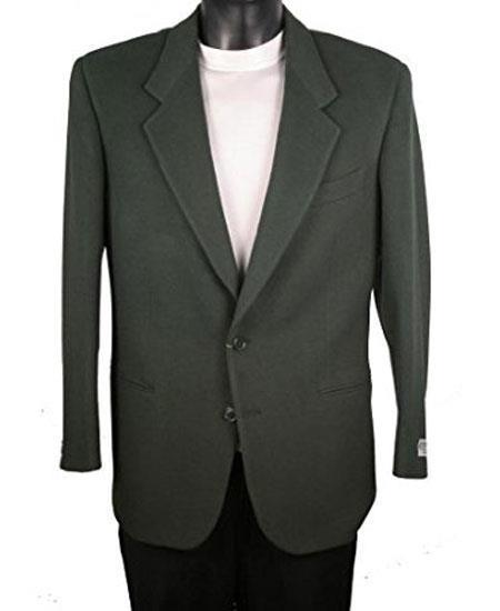 Men's Single Breasted 2 Button Notch Lapel Olive Blazer