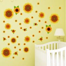 2sheets Sunflower Print Wall Sticker