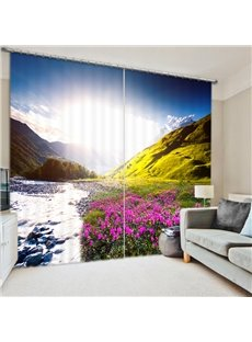 Fantastic Landscape of Water and Flower 3D Printed Polyester Curtain