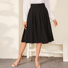Wide Band Waist Pleated Solid Skirt