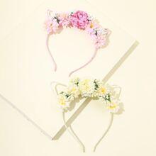 2 Stueck Maedchen Blumen Haar Hoop