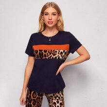 T-Shirt mit Leopard Muster Einsatz und Farbblock & Radhose Set