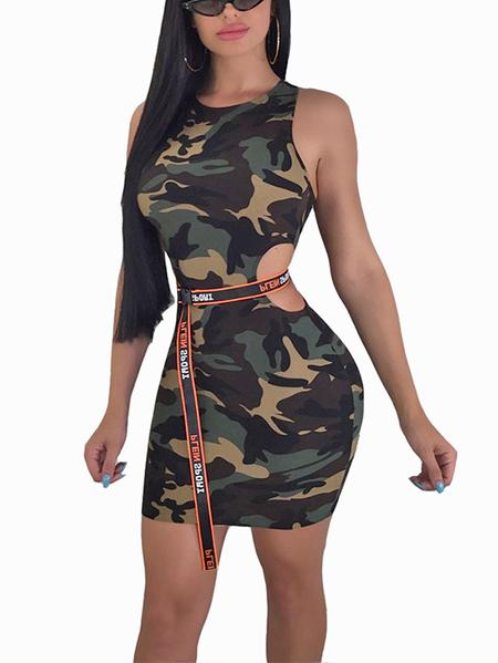 Yoins Army Green Cut Out Camo Crew Neck Sleeveless Dress