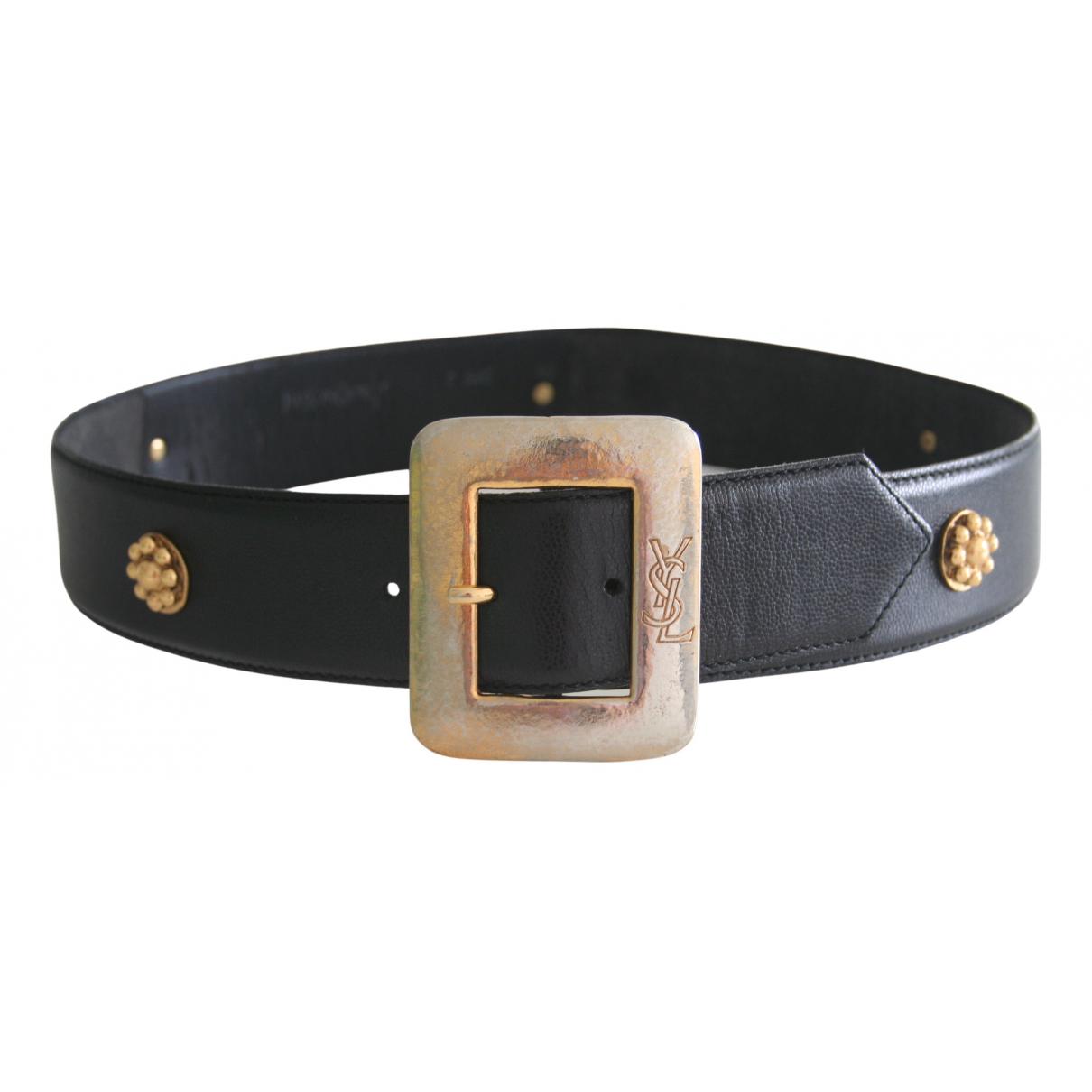 Yves Saint Laurent N Black Leather belt for Women M International