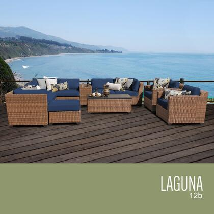 LAGUNA-12b-NAVY Laguna 12 Piece Outdoor Wicker Patio Furniture Set 12b with 2 Covers: Wheat and