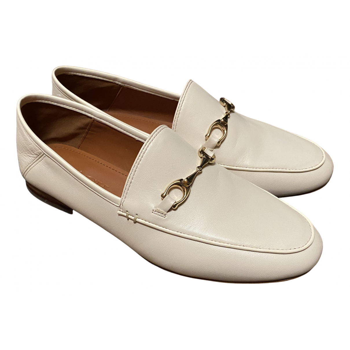 Coach N White Leather Flats for Women 5.5 US