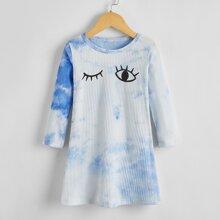 Toddler Girls Tie Dye And Eye Print Tee Dress