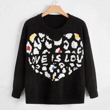 Pullover mit Buchstaben und Herzen Muster