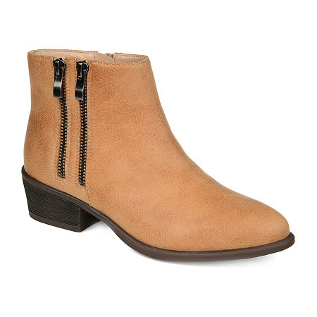 Journee Collection Womens Jayda Stacked Heel Booties, 9 Medium, Beige