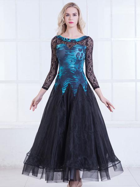 Milanoo Ballroom Dance Dresses Women Long Sleeve Printed Organza Lace Practice Dancing Costume