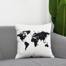 Funda de cojin con estampado de mapa mundial sin relleno
