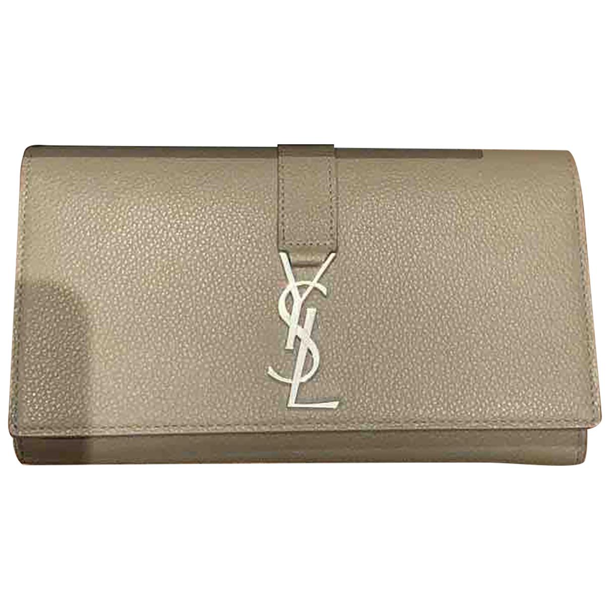 Saint Laurent Ysl line Beige Leather wallet for Women N