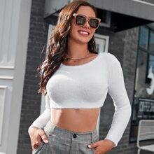 Solid Fuzzy Crop Sweater