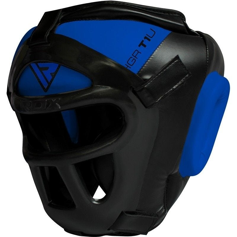 RDX T1 Combox Grille Casque Grande  Bleu Cuir PU