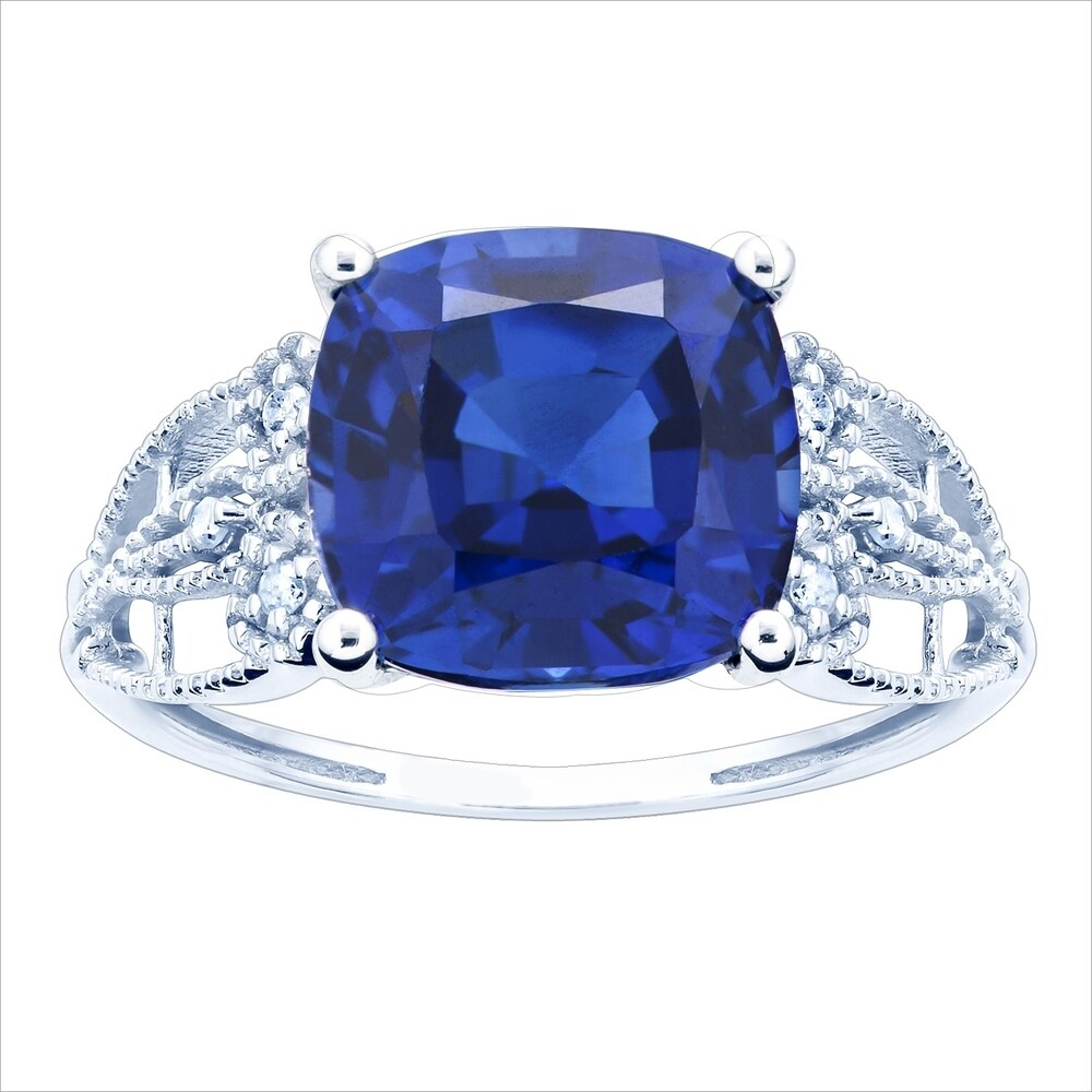 10K White Gold 3.23ct TW Sapphire and Diamond Ring - Blue (5.5)