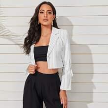 Striped Single Button Crop Blazer