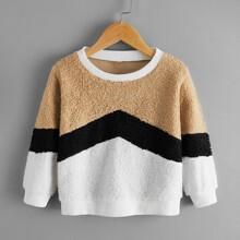 Flanell Sweatshirt mit Kontrast Einsatz