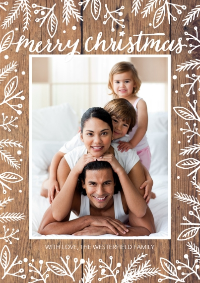 Christmas Photo Cards 5x7 Cards, Standard Cardstock 85lb, Card & Stationery -Christmas Rustic White Floral