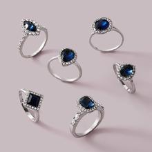 6pcs Gemstone & Rhinestone Decor Ring Set