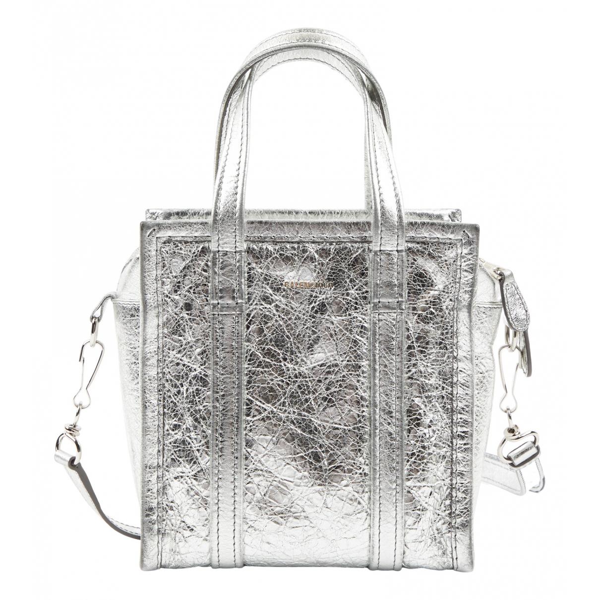 Balenciaga Bazar Bag Handtasche in  Silber Leder