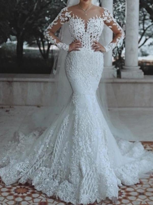 Mermaid Scoop Appliques Long Sleeves Wedding Dress