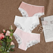 3pack Ribbed Lace Trim Panty Set