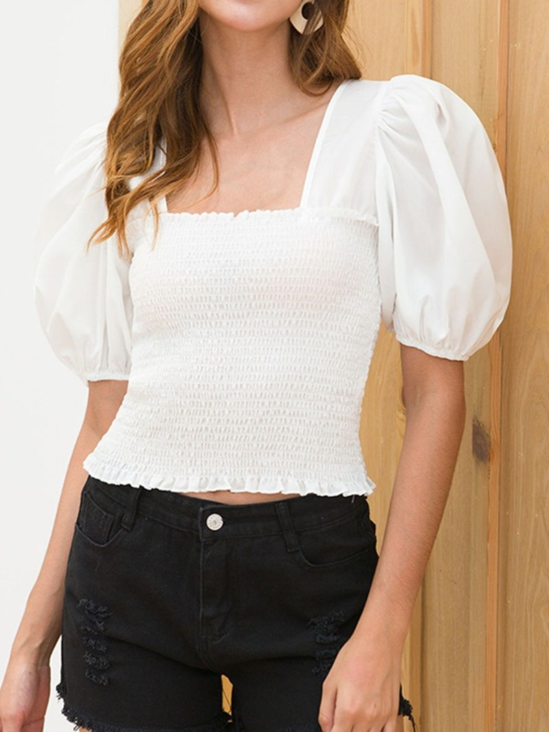 Ericdress Pleated Square Neck Lace-Up Short Sleeve Slim Blouse