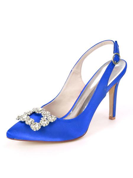 Milanoo Wedding Guest Shoes Satin Royal Blue Pointed Toe Rhinestones Stiletto Heel 3.7 Bridal Shoes