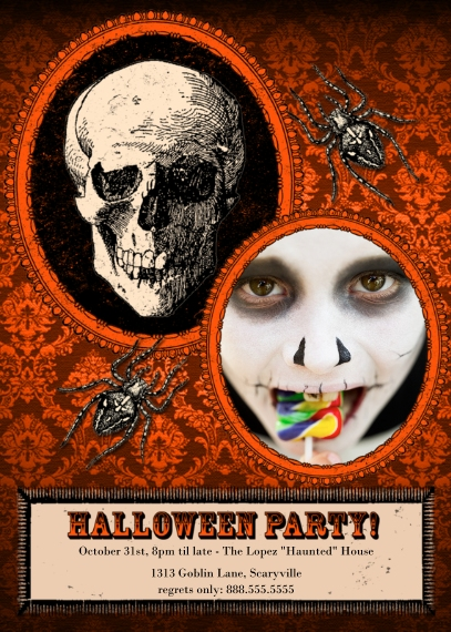 Halloween Photo Cards 5x7 Cards, Premium Cardstock 120lb with Elegant Corners, Card & Stationery -Haunted House Party