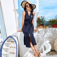 Kleid mit Anker Muster, Knopfen vorn, ausgestelltem Saum und Knoten