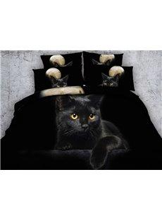 3D Black Kitten Printed Cotton 4-Piece Bedding Sets/Duvet Covers