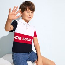 Boys Colorblock Letter Graphic Polo Shirt
