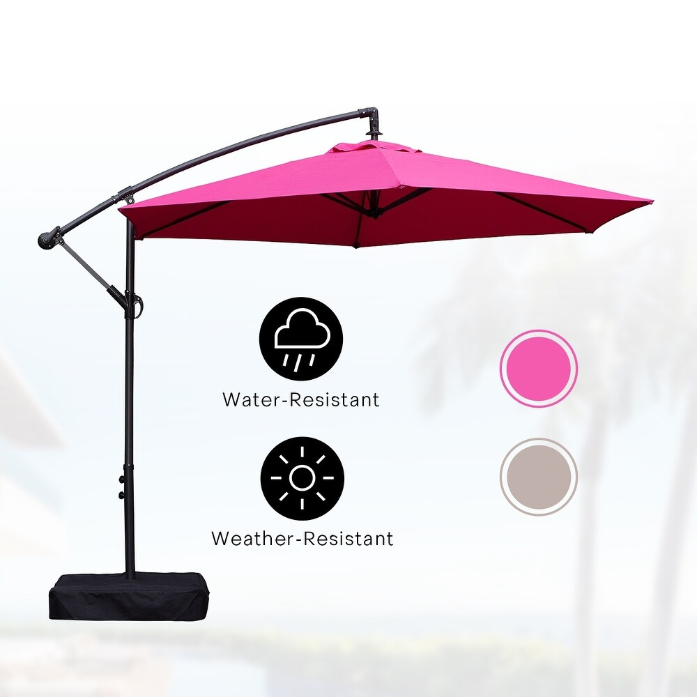 Amarantos 10 Ft Patio Umbrella Outdoor with Base Easy Adjustment  Hanging Table Market Offset Umbrella for Garden, Rose Red (Red)