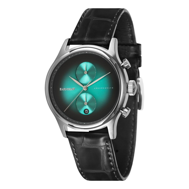 Thomas Earnshaw Mens Bauer Fumee Chronograph ES-8094-04 Green Leather Japanese Fashion Watch
