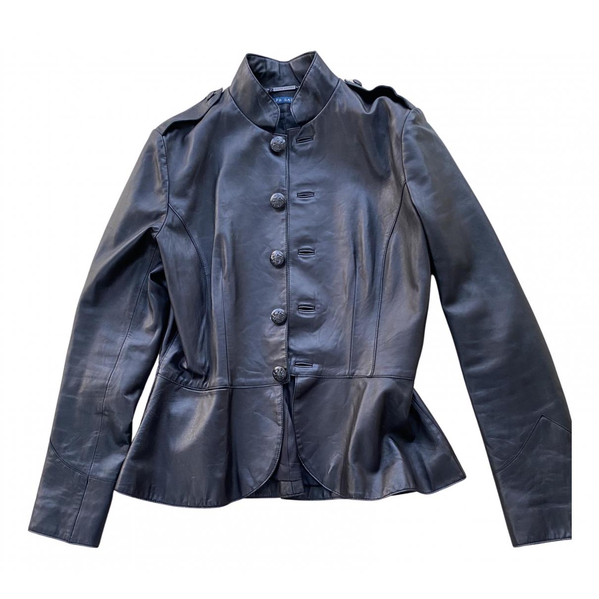 Ralph Lauren \N Lederjacke in  Schwarz Leder