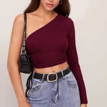 One Shoulder Drawstring Side Crop Top