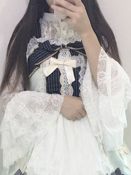 Milanoo Gothic Lolita Blouses Lace Long Sleeve Stand Collar Pleated Black Lolita Top