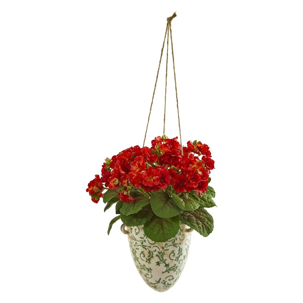 Nearly Natural 13-inch Violet Artificial Plant in Floral Hanging Vase