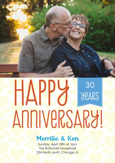 Anniversary 5x7 Cards, Premium Cardstock 120lb, Card & Stationery -Happy Anniversary Ribbon