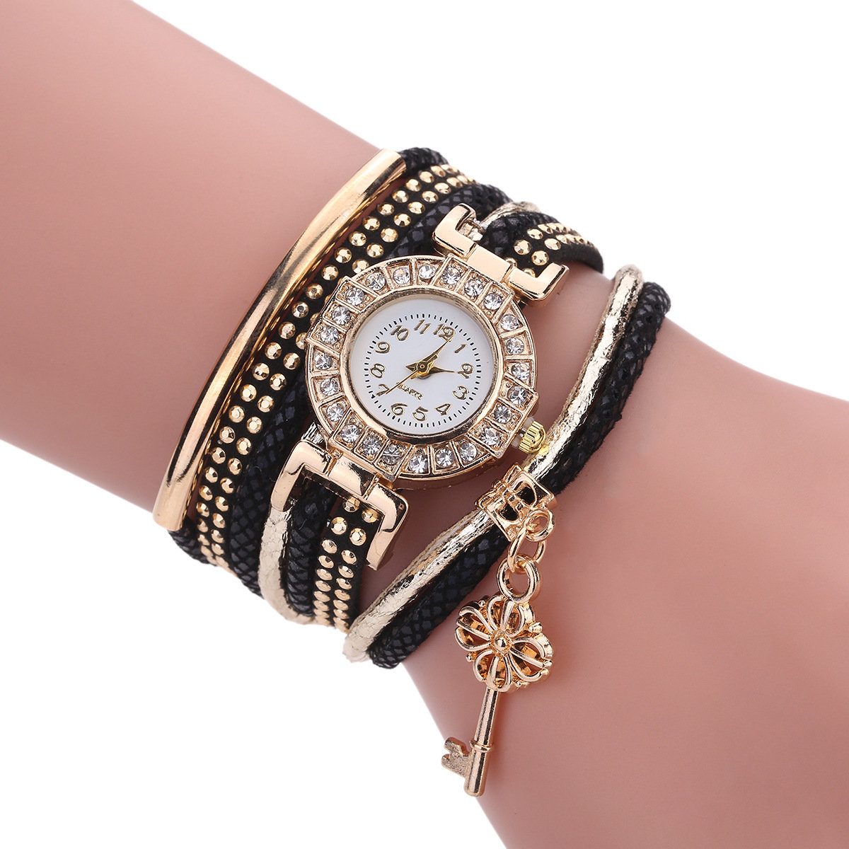 Trendy Multilayer Wrist Watch Rhinestones Key Charm Pendant Leather Dial Bracelet Women Watches